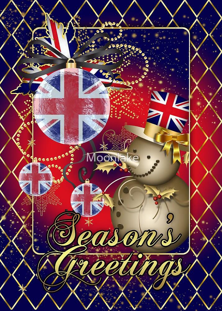 GB Patriotic Christmas Card - Season's Greetings Snowman  by Moonlake