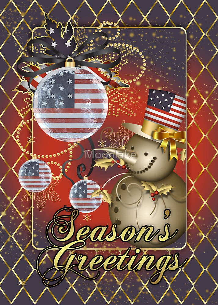 U.S.A. Patriotic Christmas Card - Season's Greetings Snowman  by Moonlake