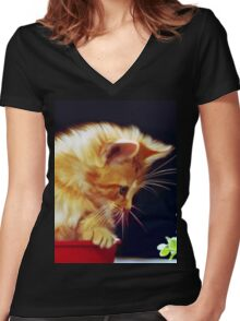 Cat On Red Tin Women's Fitted V-Neck T-Shirt