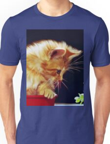 Cat On Red Tin Unisex T-Shirt
