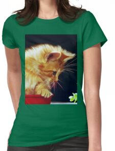 Cat On Red Tin Womens Fitted T-Shirt