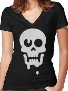 Nate's drippy skull - Gravity Falls Women's Fitted V-Neck T-Shirt