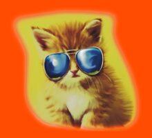 Cute Kitty with Sunglasses Kids Tee
