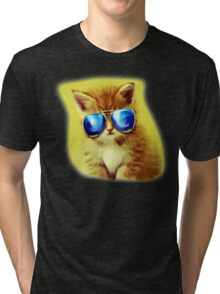 Cute Kitty with Sunglasses Tri-blend T-Shirt