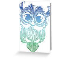 Owl mandala - blue green gradient  Greeting Card