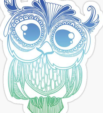 Owl mandala - blue green gradient  Sticker