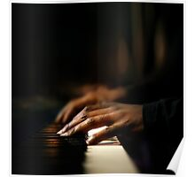 Hands playing piano close-up Poster