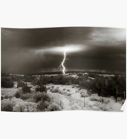 Lightening at Dawn - Chimayo, New Mexico Poster