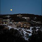 Moon Rising as Sun Sets at Mount Buller by Andrew Wilson