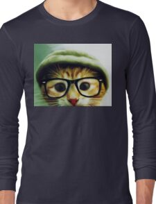 Vintage Cat Wearing Glasses Long Sleeve T-Shirt