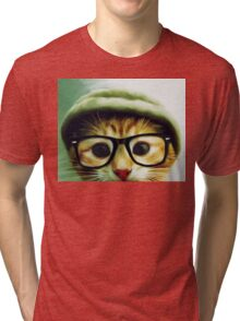 Vintage Cat Wearing Glasses Tri-blend T-Shirt