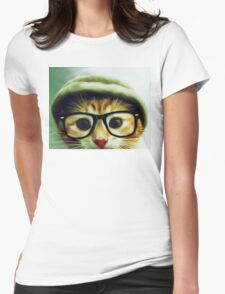Vintage Cat Wearing Glasses Womens Fitted T-Shirt