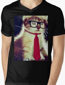 Cute Executive Cat Mens V-Neck T-Shirt