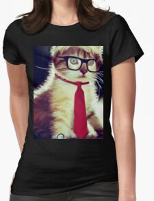 Cute Executive Cat Womens Fitted T-Shirt