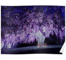 Violet tree and magic circle of light Poster