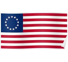 Historical Flags of the United States of America 1777 to 1795 US Flag with 13 Stars and 13 Stripes Betsy Ross Poster
