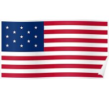 Historical Flags of the United States of America 1777 to 1795 US Flag with 13 Stars and 13 Stripes Poster