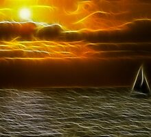 Sunset and Sailboat - Dark Glow by Doug Greenwald