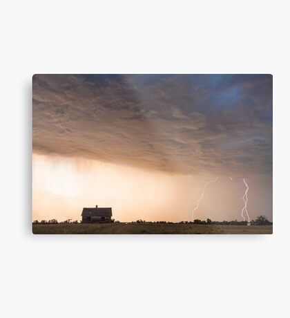 Lightning Striking On The Colorado Prairie Plains Metal Print