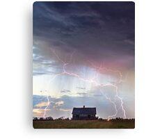 Pink Lightning On the Prairie Portrait Canvas Print