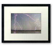 Positive Pink Lightning Strikes Framed Print