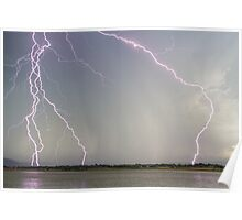 Positive Pink Lightning Strikes Poster