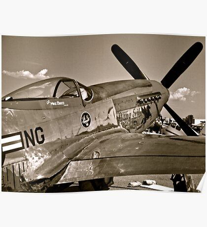Stang Evil Vintage Mustage Fighter Plane Poster