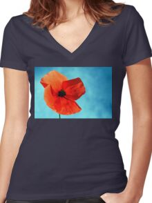 Sun-Drenched Women's Fitted V-Neck T-Shirt