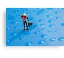 The Diver Among Water Drops Metal Print