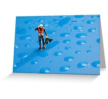 The Diver Among Water Drops Greeting Card