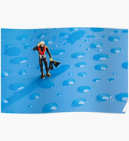 The Diver Among Water Drops Poster