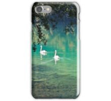 swans on the 'clear water of a lake (Italy) iPhone Case/Skin