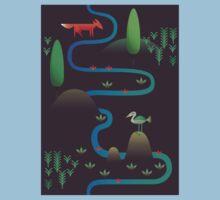 Landscape - Fox and Stream 2 (Pattern) Kids Tee
