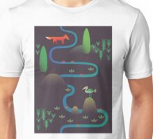 Landscape - Fox and Stream 2 (Pattern) Unisex T-Shirt