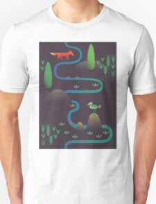 Landscape - Fox and Stream 2 (Pattern) T-Shirt