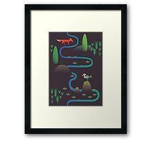Landscape - Fox and Stream 2 (Pattern) Framed Print