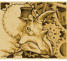 Lord Triceratops - Orange Tone Photographic Print