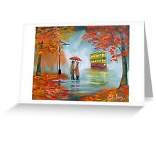 Meeting in the rain Oil painting Greeting Card
