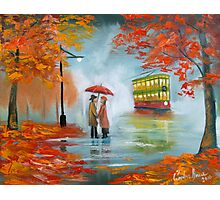 Meeting in the rain Oil painting Photographic Print
