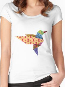 Origami Humming Bird - Pattern1 Women's Fitted Scoop T-Shirt