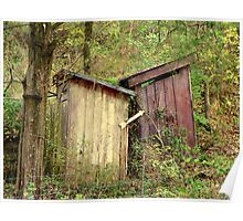 """Double """"Out Houses"""" in Hillbilly Lands, N.W. Arkansas Poster"""