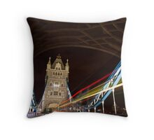 Tower Bridge at night with Light trail Throw Pillow