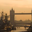 Tower Bridge and HMS Belfast at dawn by ShanneOng