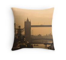 Tower Bridge and HMS Belfast at dawn Throw Pillow