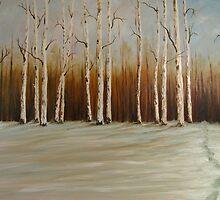 "Footprints in the Snow 36""x24"" - Oil by Luci Feldman"