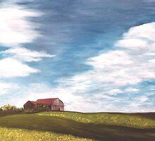 """Red Roof & Canola Fields 40x20"""" Oil by Luci Feldman"""