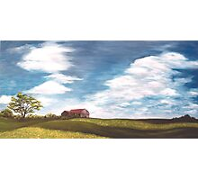 "Red Roof & Canola Fields 40x20"" Oil Photographic Print"