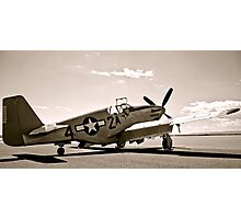 Tuskegee P-51 Mustange Vintage Fighter Plane Photographic Print