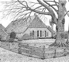 Original Dutch Farmhouse in Drenthe Holland - Pen Drawing by RainbowArt