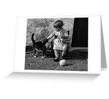 Little girl knitting Greeting Card